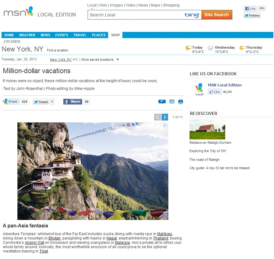 MSN Travel Feature 29 Jan 2013