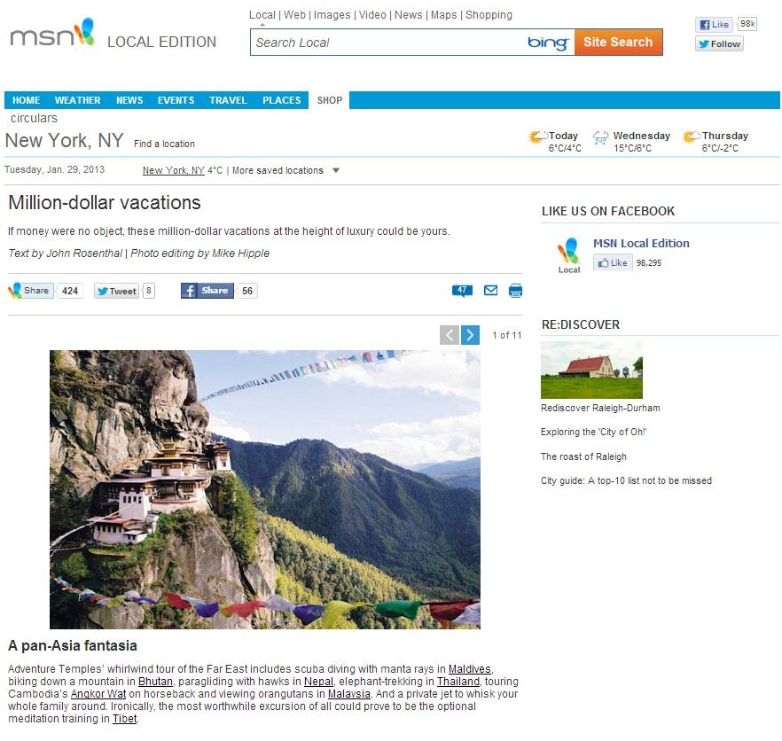 MSN Travel Feature 29 Jan 2013